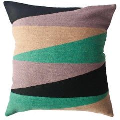 Zimbabwe Landscape Winter Hand Embroidered Modern Geometric Throw Pillow Cover