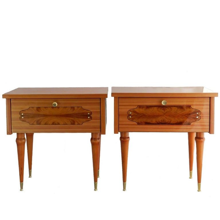 Pair of nightstands side cabinets bedside tables french for French nightstand bedside table
