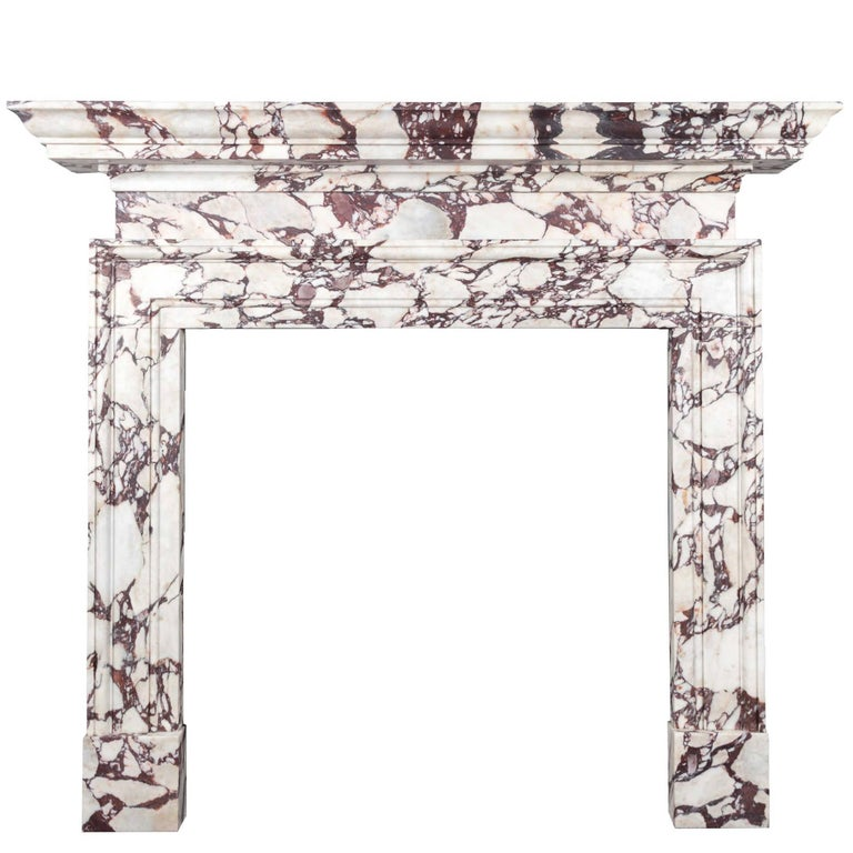 Ryan & Smith Portavo Breccia Viola Marble Fireplace For Sale