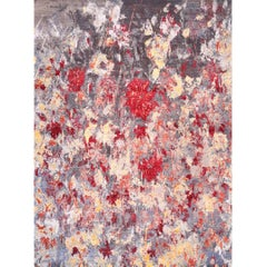Modern Abstract Handwoven Rug of Indian Silk