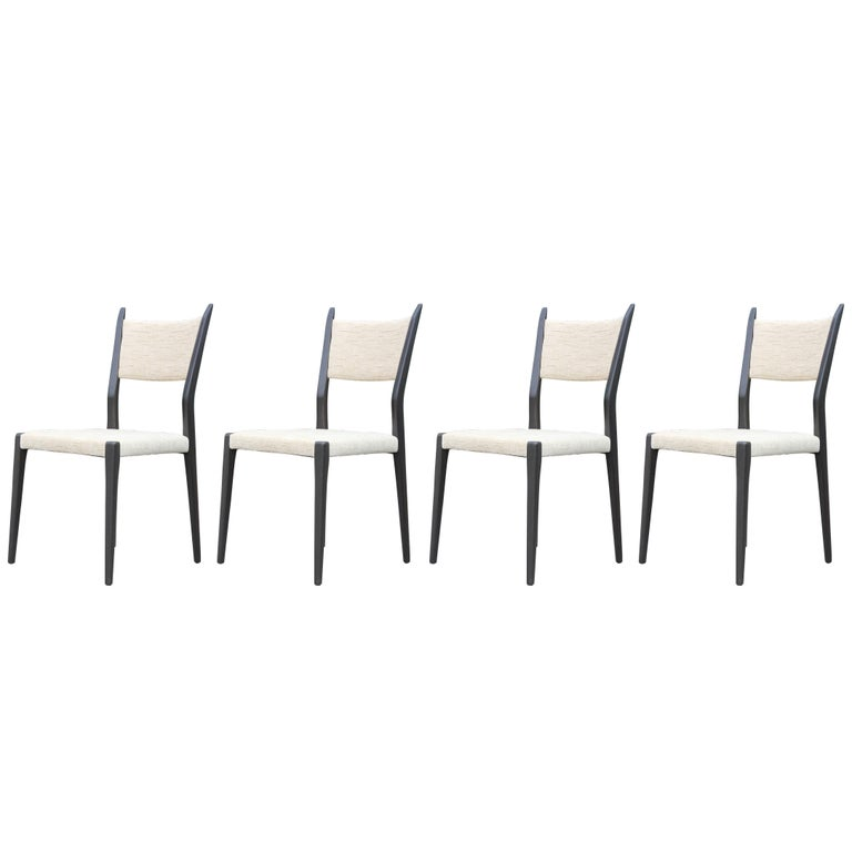 Modern Set of Four Paul McCobb for Calvin Black and White Dining Chairs