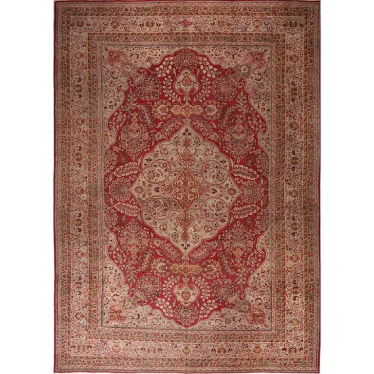 Handwoven Persian Mashad Rug in Red with Scalloped Medallion