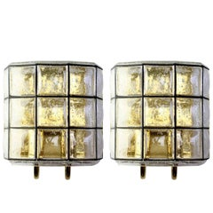 Large Mid-Century Pair of Iron and Bubble Glass Wall Lights by Glashütte Limburg