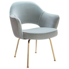 Saarinen Executive Arm Chairs in Celadon Velvet, 24k Gold Edition