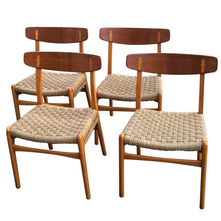 Set of Four Hans Wegner for Carl Hansen CH-23 Beech and Teak Dining Chairs