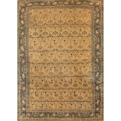 Antique  Beige and Blue Persian Kashan Rug