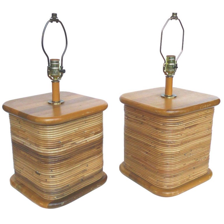 Pair of Rattan Table Lamps in the Style of Paul Frankl