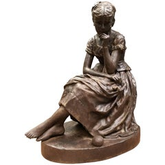 Cast Iron Statue Representing Cinderella, From Salin Foundry, 19th Century