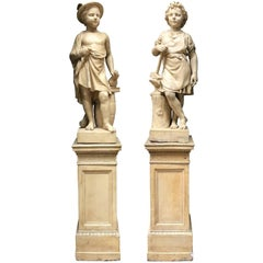Pair of Neoclassical Terracotta Statue Representing Vulcan and Mercury