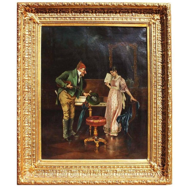 "Italian 19th Century Oil on Canvas ""The Music Professor"" Carlo Sassi"