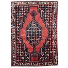 Persian Rug in Red Black Blue Cream Tribal Bakshaish Hand-Knotted Wool