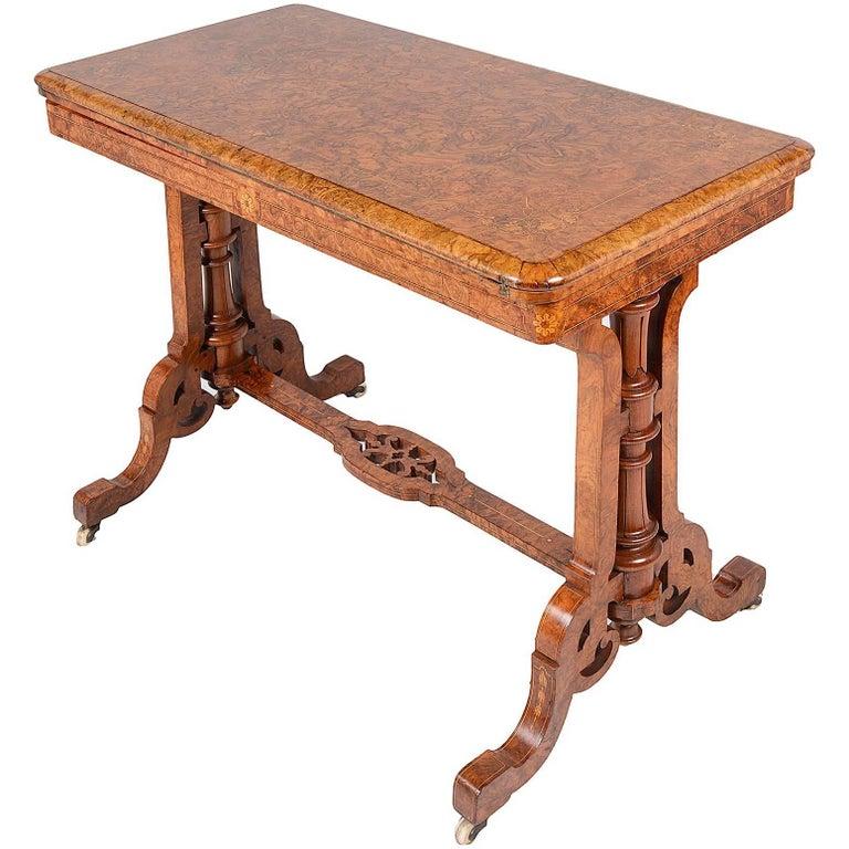 victorian walnut folding card table for sale at 1stdibs. Black Bedroom Furniture Sets. Home Design Ideas