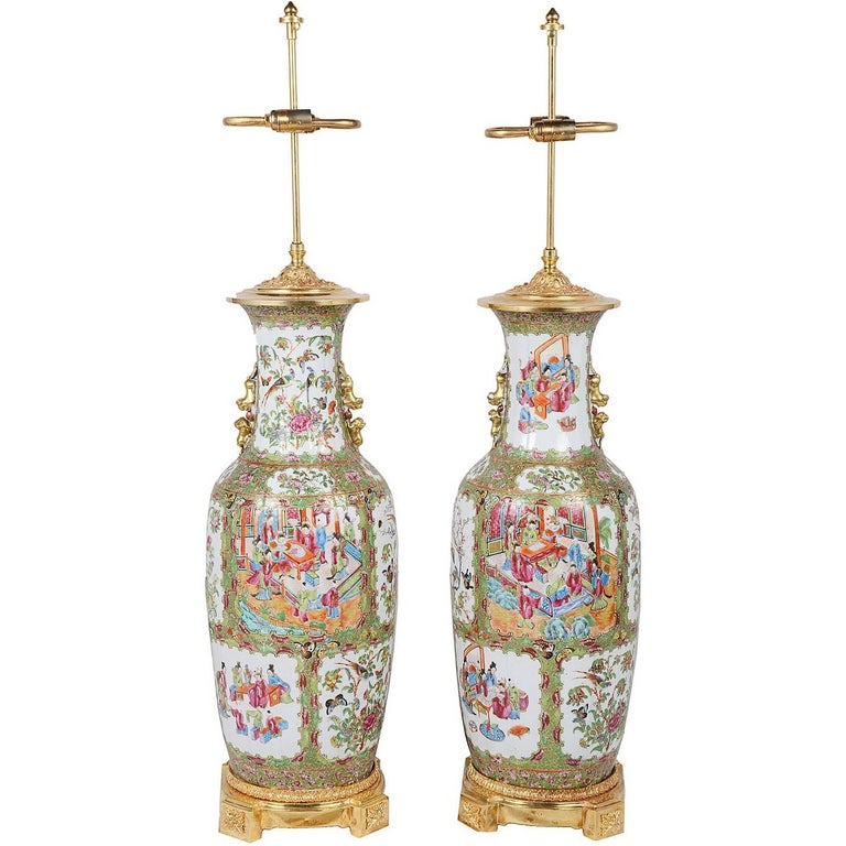Large Pair Of Canton Rose Medalion Chinese Vases Lamps 19th
