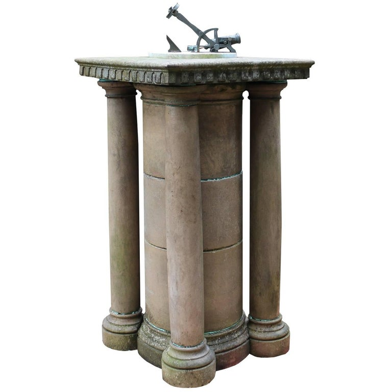 White Marble and Bronze Noonday Cannon Sundial with Terracotta Pedestal
