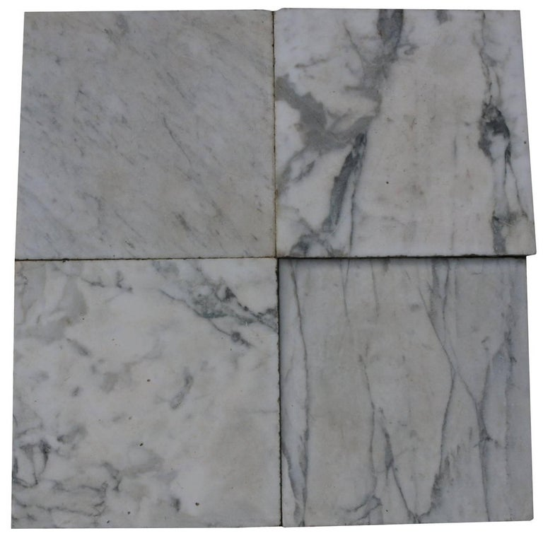 12m2 Antique Reclaimed Carrara Marble Floor Tiles Circa 1785 For