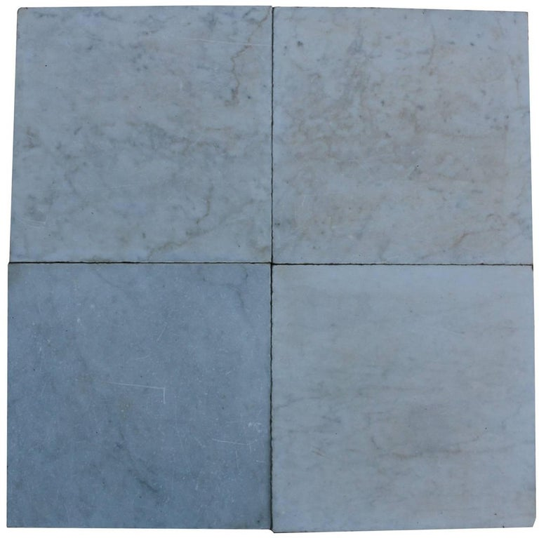 12m2 19th Century Antique Reclaimed Carrara Marble Floor Tiles For