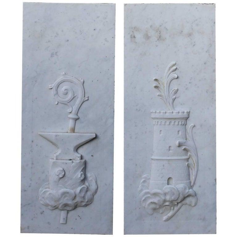 Pair of 19th Century Carrara Marble Plaques