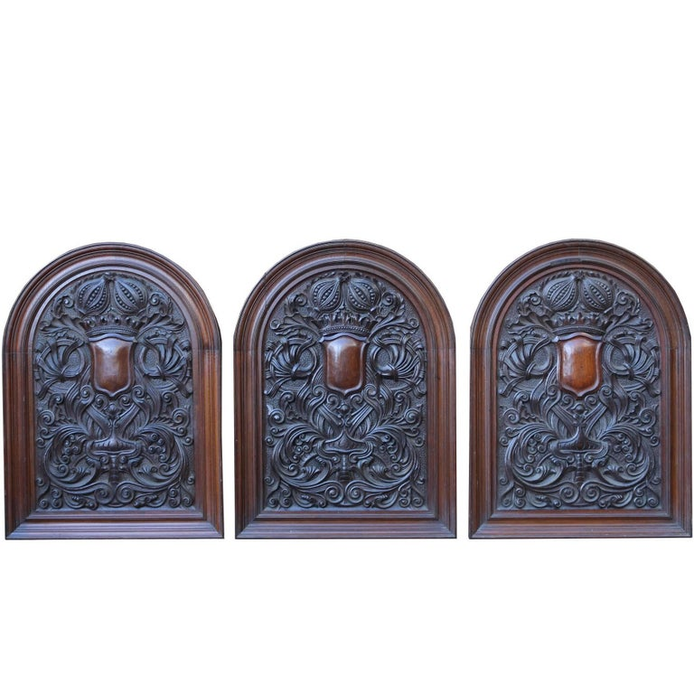 Five 19th Century Tudor Style Carved Oak Wall Plaques