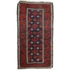 Handmade Antique Afghan Baluch Rug, 1920s