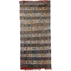 Handmade Vintage Tunisian Flat-Weave Kilim, 1950s