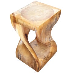 Twisted Teak Side Table, Indonesia, Contemporary