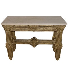 Gold Gilt Multi Layered Wood and Travertine Top Brutalist Console, France, 1950s