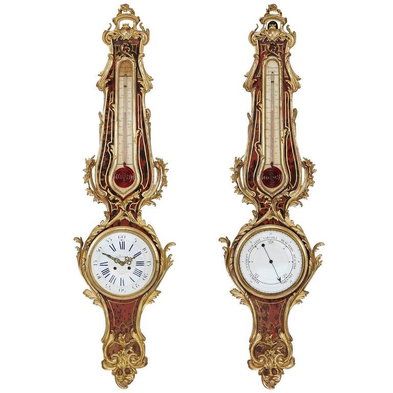 Louis XV Style Ormolu-Mounted Tortoiseshell Clock and Barometer Set by Gleizes