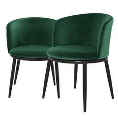 Sweety Chairs Set of Two in Green or Red or Green or Purple or Black Velvet
