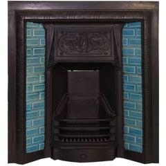 19th Century Victorian Cast-Iron Tiled Fireplace Insert