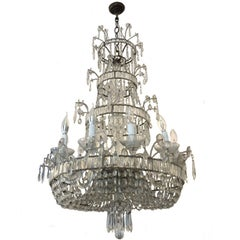 Antique Twelve-Light Crystal Teardrop Chandelier Victorian Model, 19th Century