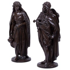 'La Porteuse' and 'Le Guerrier Arabe', Orientalist Bronze Sculptures by Salmson