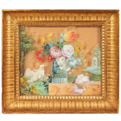 Reverse Glass Floral Paintings in Giltwood Frames