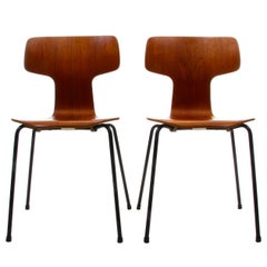 Two Teak T-Chairs, Model 3103 Dining Chairs by Arne Jacobsen, Fritz Hansen, 1955