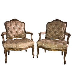 Pair of 19th Century French Giltwood Fauteuil Chairs