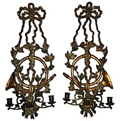 Pair of 19th Century Carved Polycromed Girandole Wall Sconces