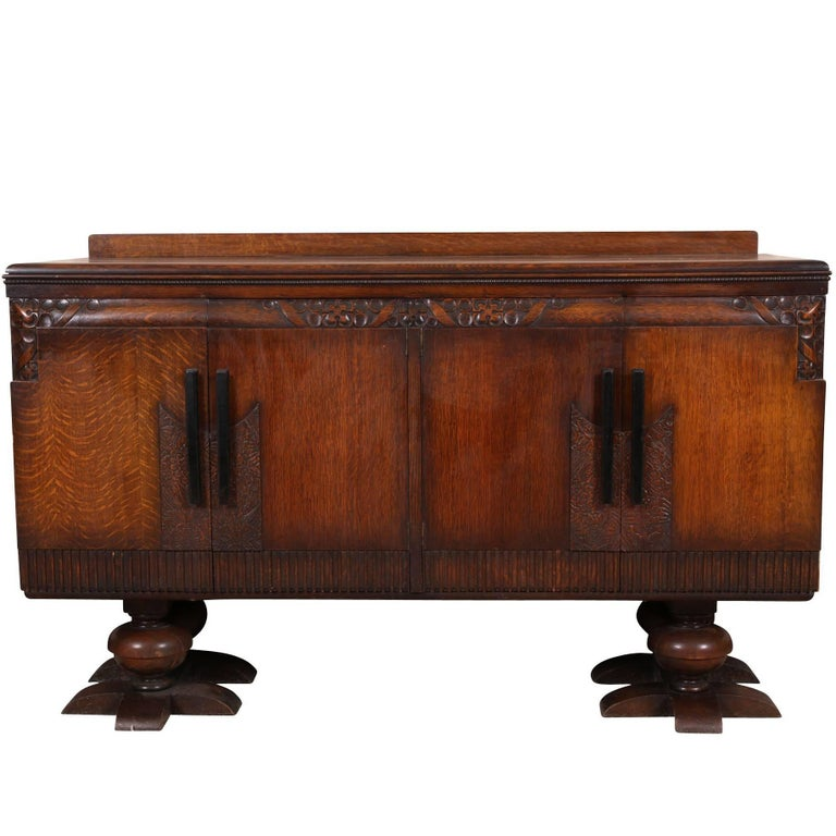 French Art Deco Carved Oak Cabinet For Sale