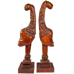 Large Pair of Carved Midcentury Busts