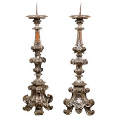 Pair of Italian Tall Baroque Style Silver Candlesticks from the 19th Century