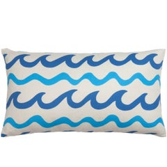 Swell Oblong Pillow in Color Montauk 'Navy and Bright Blue on Cream'