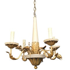 20th Century Probably Tole and Giltwood Four-Arm Painted Chandelier
