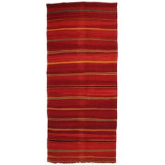 Vintage Berber Moroccan Kilim with Tribal Boho Chic Style, Red Flat-Weave Kilim