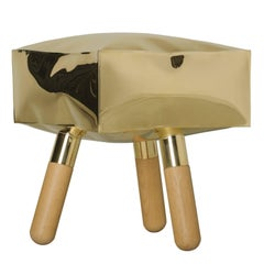 Icenine Floor Stool Side Table in Brass and Oak