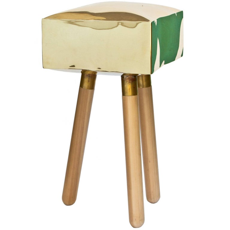 Icenine Bar Stool Side Table in Brass and Oak