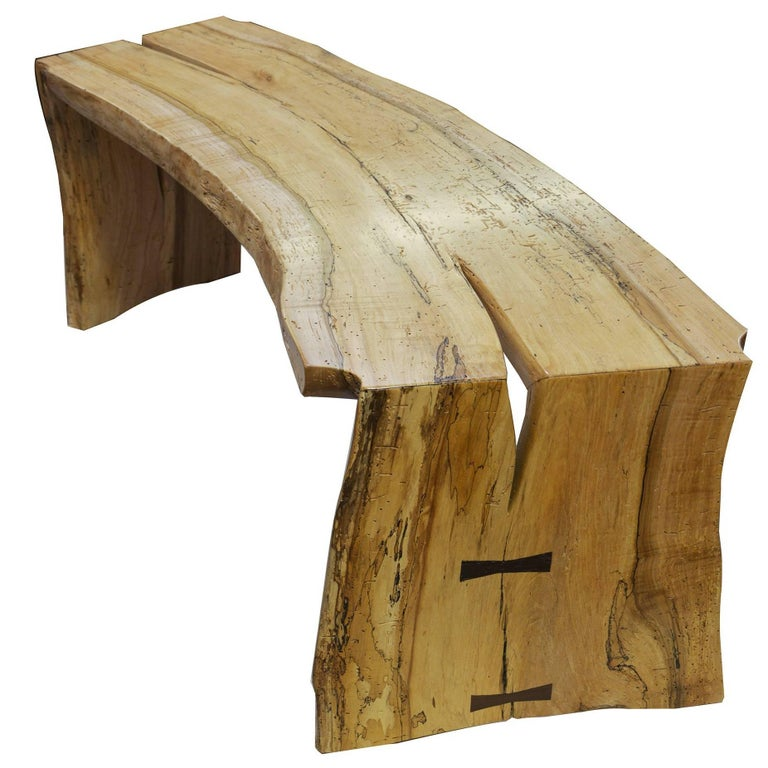 The David Ebner Free Edge Spalted Maple Bench For Sale
