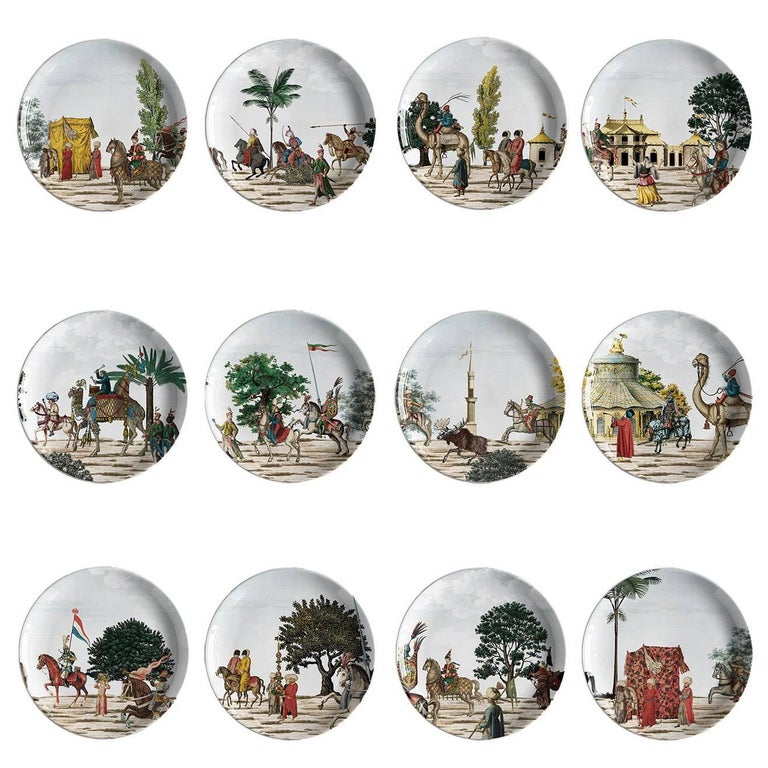 Set of 12 Corteo Plates For Sale