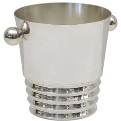 French Mid Century Silver Plate Ice Bucket with Ball Handles