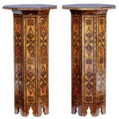 Pair of 1920s Damascan Inlaid Pedestals