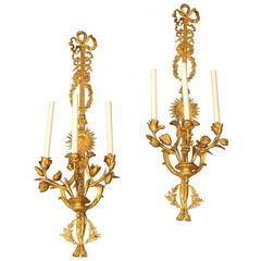 Pair of 19th Century Louis XVI Style Gilt Bronze Sconces