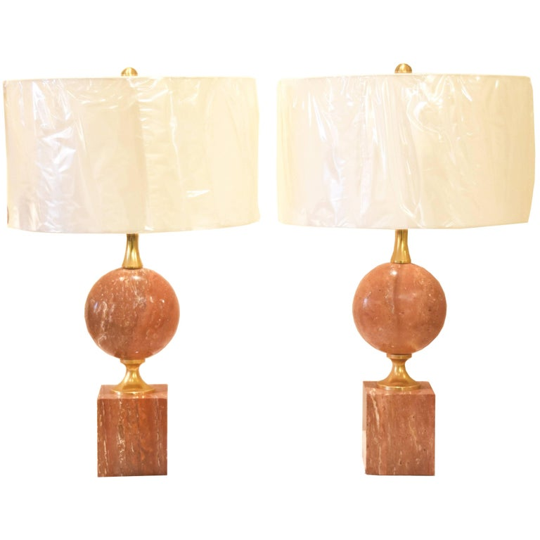 Pair of French Pink or Coral Travertine Maison Barbier Lamps For Sale