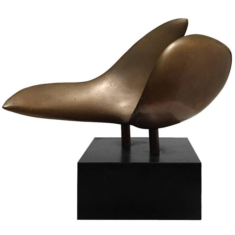1970s Abstract Bronze Curved Wing Sculpture on Black Base For Sale